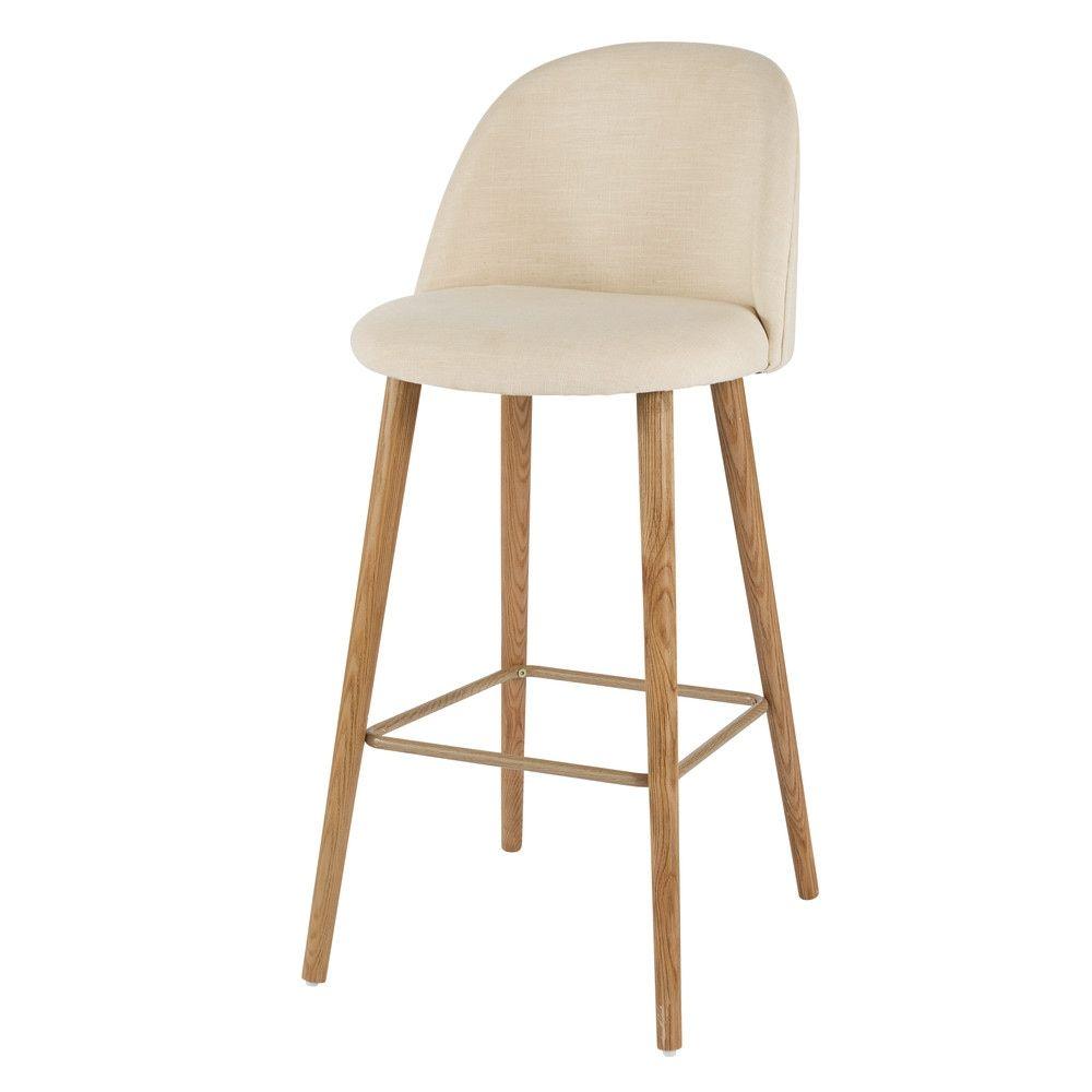 chaise de bar vintage crue et fr ne massif. Black Bedroom Furniture Sets. Home Design Ideas