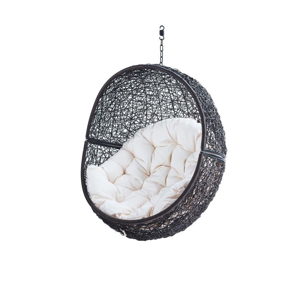 fauteuil suspendu de jardin en r sine tress e marron. Black Bedroom Furniture Sets. Home Design Ideas