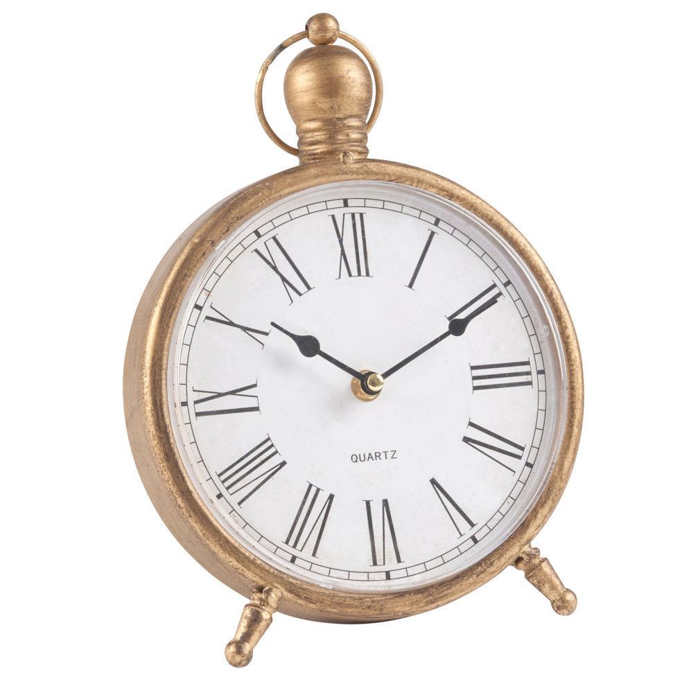 Horloge poser en m tal dor horloge poser maisons du monde - Horloge a poser maison du monde ...