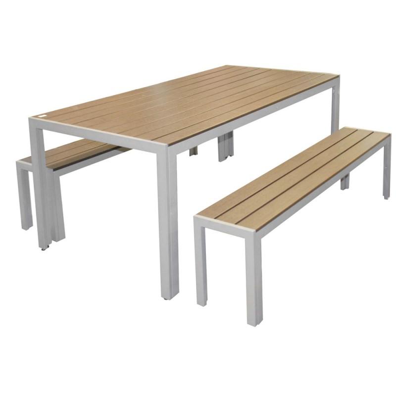 Salon de jardin en polywood et Alu avec bancs - Salle à manger de ...