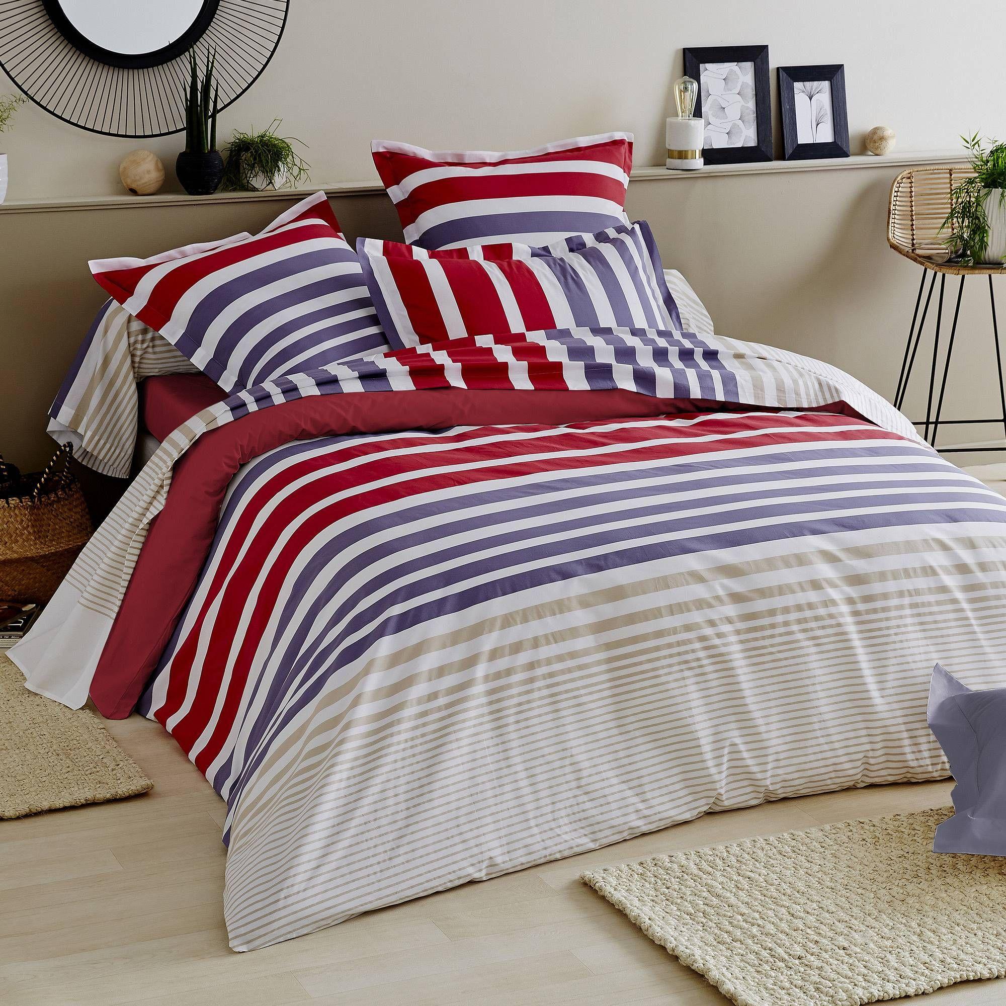 linnea parure de lit 240x220 cm percale pur coton stripe