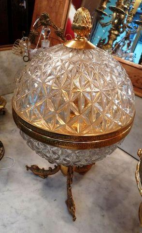 Art & Antiques - Cave à liqueur-Art & Antiques-Cave à liqueur ronde Napoléon III en cristal et br