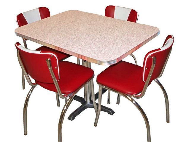 US Connection - Coin repas-US Connection-Set Diner : Chaises 921V Rouge & Table Glacier