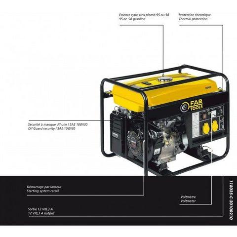 FARTOOLS - Groupe électrogène-FARTOOLS-Groupe électrogène 3200 watts moteur 4 temps Farto