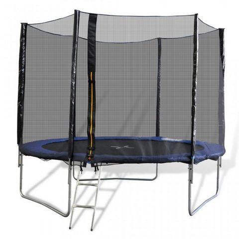 WHITE LABEL - Trampoline-WHITE LABEL-Trampoline 10' 3 pieds + filet de sécurité