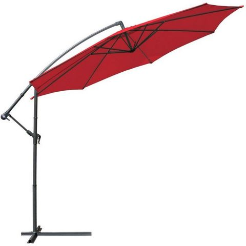 WHITE LABEL - Parasol excentré-WHITE LABEL-Parasol déporté de 3,5 m rouge + Housse