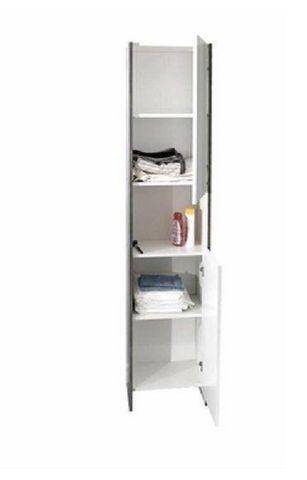 WHITE LABEL - Colonne de rangement simple de salle de bains-WHITE LABEL-Colonne DOVA design béton et 2 portes blanche