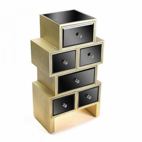 WHITE LABEL - Commode-WHITE LABEL-Commode VARESE en verre noir 6 tiroirs design doré