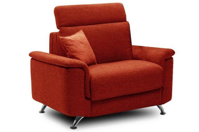 WHITE LABEL - Fauteuil-lit-WHITE LABEL-Fauteuil EMPIRE tweed orange convertible ouverture