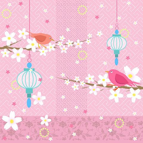 Design Atelier - Papier cadeau-Design Atelier-Vögel mit Laternen