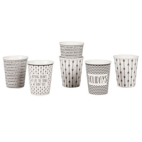 6 tasses en porcelaine blanche motifs noirstasse caf noir 6x7x0cm maisons du monde - Tasse maison du monde ...