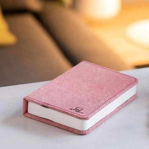 Gingko - Lampe à poser-Gingko-MINI SMART BOOKLIGHT - lampe lin rose 12.5 cm