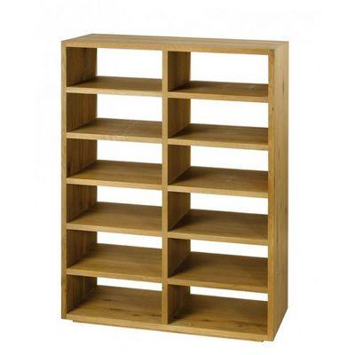 MEUBLES ZAGO - Etagère-MEUBLES ZAGO-Rangement chêne 12 niches, tiroirs en option Côme