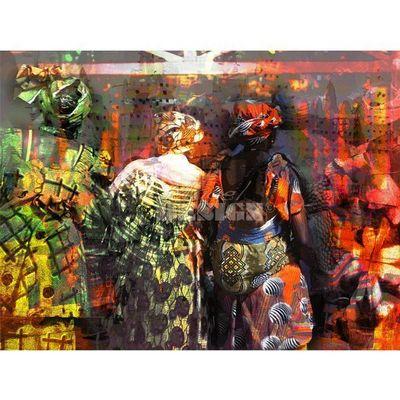 Magel'design - Tableau contemporain-Magel'design-Des Bouts de Boubous 120x90 cm , 3D effet relief