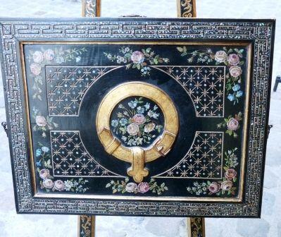 Art & Antiques - Chevalet-Art & Antiques-Chevalet écritoire peint  Napoléon III