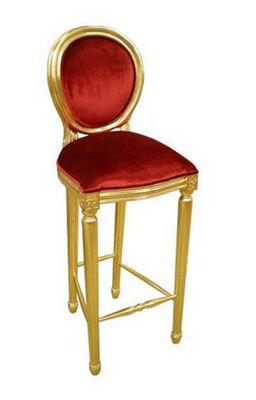 DECO PRIVE - Chaise haute de bar-DECO PRIVE-Chaise de bar en velours rouge et bois dore Medail