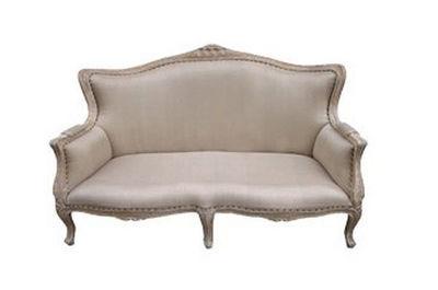 DECO PRIVE - Canapé 2 places-DECO PRIVE-Banquette en bois ceruse et tissu grey modele Loui