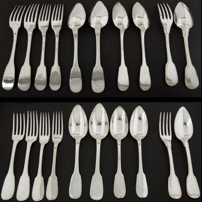 Expertissim - Couverts de table-Expertissim-Quatre fourchettes et quatre cuillers en argent mo