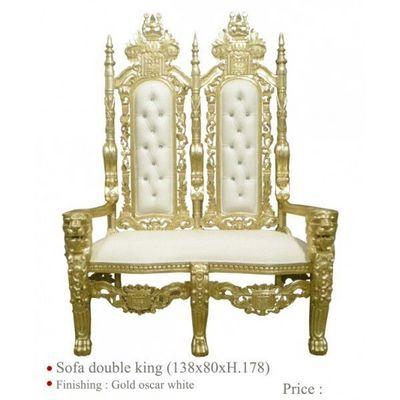 DECO PRIVE - Canapé 2 places-DECO PRIVE-Banquette de mariage en bois dore et simili blanc