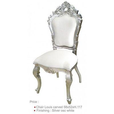DECO PRIVE - Chaise-DECO PRIVE-Chaise baroque blanche la mariee argentee et aspec