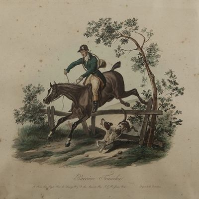 Expertissim - Lithographie-Expertissim-D'apr�s Carle VERNET. Barri�re franchie et Cheval