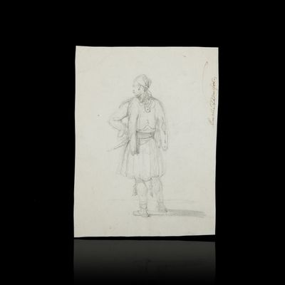 Expertissim - Dessin au crayon-Expertissim-MONTFORT. Etude de personnage en costume grec