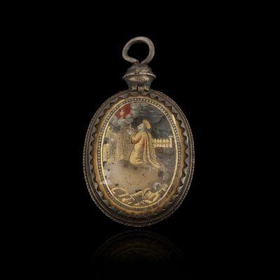 Expertissim - Pendentif-Expertissim-Reliquaire en verre églomisé d'époque Louis XIII