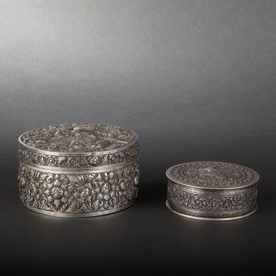 Expertissim - Coffret � bijoux-Expertissim-Deux bo�tes rondes en argent. Travail d'Extr�me O