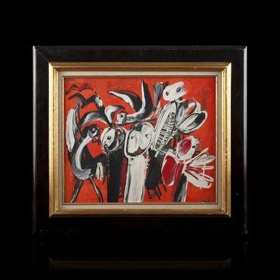 Expertissim - Tableau contemporain-Expertissim-Yannis GAITIS. Personnages et oiseaux fond rouge,
