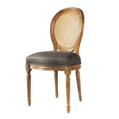 Maisons du monde - Chaise médaillon-Maisons du monde-Chaise taupe lin Louis