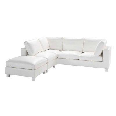 Maisons du monde - Canapé d'angle-Maisons du monde-Canapé cuir blanc 5 placesAngle Kennedy