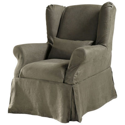 Maisons du monde - Housse de fauteuil-Maisons du monde-Housse lin marron glac� Cottage