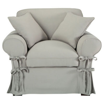 Maisons du monde - Fauteuil-Maisons du monde-Fauteuil coton gris clair Butterfly