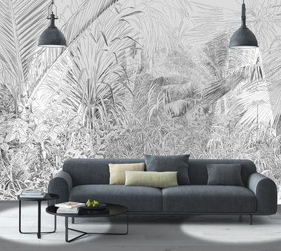 IN CREATION - Papier peint panoramique-IN CREATION-Forêt Tropicale Au Crayon