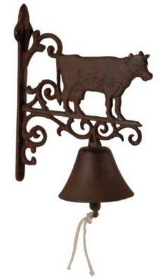 Antic Line Creations - Cloche d'extérieur-Antic Line Creations-Cloche de jardin vache en fonte 26,5x20,5x5cm