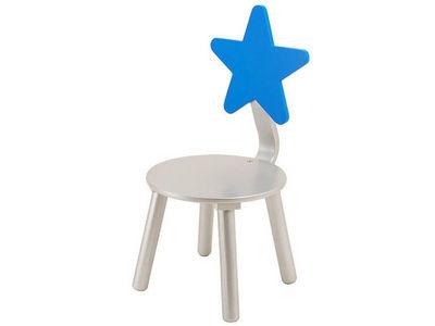 JIP - PAPIRNY VETRNI  A. S. - Chaise enfant-JIP - PAPIRNY VETRNI  A. S.-Chaise enfant etoile en bois bleu et argent 60x29c