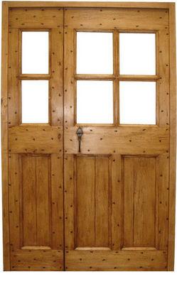 Portes Anciennes - Porte de communication pleine-Portes Anciennes-Modèle cochonière tierce vitrée en tilleul