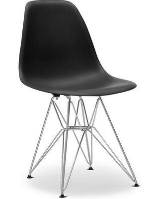 Charles & Ray Eames - Chaise réception-Charles & Ray Eames-Chaise noire DSR Charles Eames Lot de 4