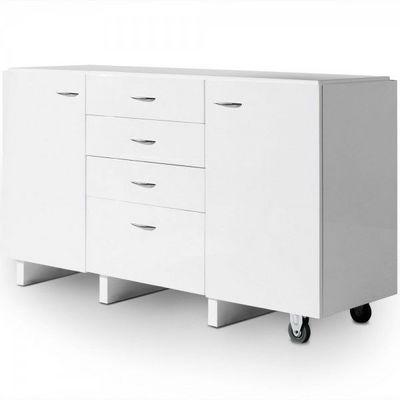 WHITE LABEL - Commode-WHITE LABEL-Commode 4 tiroirs + 2 portes Mallow