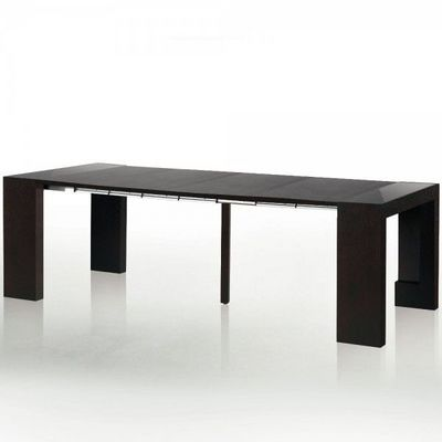 WHITE LABEL - Table de repas rectangulaire-WHITE LABEL-Table console extensible 4 rallonges Phoenix