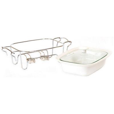 WHITE LABEL - Plat à four-WHITE LABEL-Plat en céramique sur support en inox couvercle va