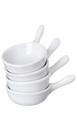 WHITE LABEL - Poêlon-WHITE LABEL-Ensemble de 4 minis poêlons en porcelaine