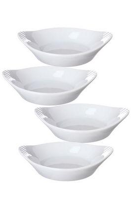 WHITE LABEL - Poêlon-WHITE LABEL-Ensemble de 4 minis plats en porcelaine