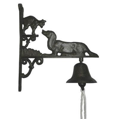 Aubry-Gaspard - Cloche d'extérieur-Aubry-Gaspard-Cloche de jardin chien & chat en fonte 25x8,5x28,5
