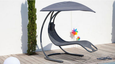 PROLOISIRS - Bain de soleil-PROLOISIRS-Chaise longue suspendue zen grise en textilène et