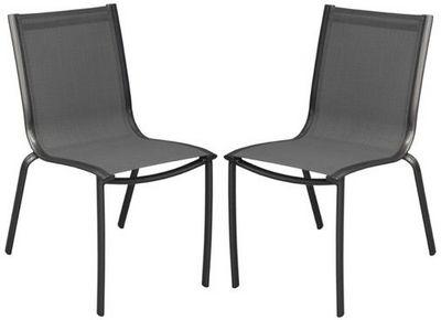 PROLOISIRS - Chaise de jardin-PROLOISIRS-Chaise linea en aluminium royal grey et textil�ne