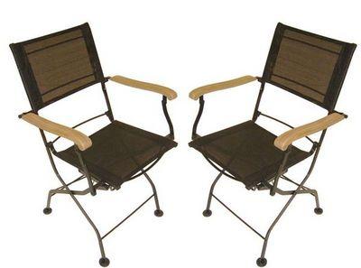 MEDICIS FRANCE - Chaise de jardin-MEDICIS FRANCE-Fauteuils pliants en fer forgé et textilène noir (