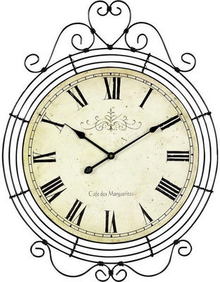 Aubry-Gaspard - Pendule murale-Aubry-Gaspard-Horloge café des marguerites en métal 48x62cm