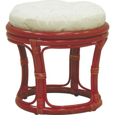 Aubry-Gaspard - Tabouret-Aubry-Gaspard-Tabouret en Rotin avec Coussin Rouge