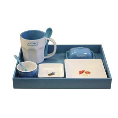 Cm - Service petit déjeuner-Cm-Plateau petit déjeuner - Couleur - Bleu